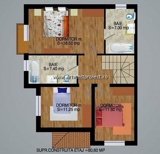 planuri de prezentare casa tip c-d_PLAN ETAJ CASA 150 MP