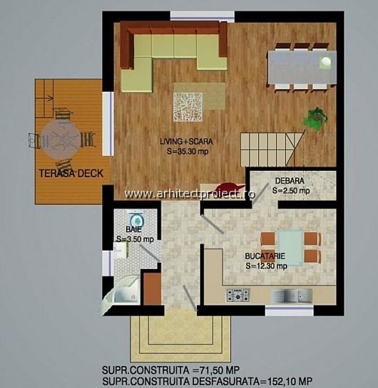 planuri de prezentare casa tip c-d_PLAN PARTER CASA 152 MP