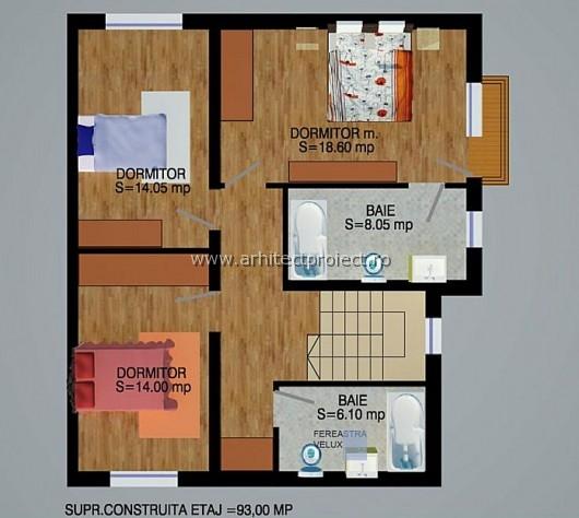 planuri de prezentare casa tip c-d_PLAN ETAJ CASA 170 MP