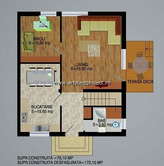 planuri de prezentare casa tip c-d_PLAN PARTER CASA 172 MP